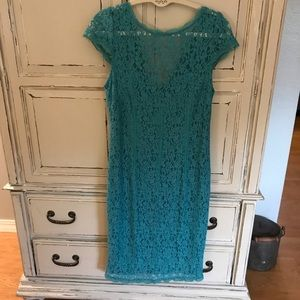 Adrianne Papell Emerald green lace dress Sz 12